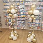 Lovedeco - Bescheiden ballonpilaar diva chrome goud en wit