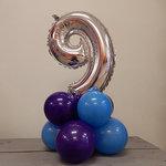 Lovedeco - Mini cijferpilaar 9 blauw paars