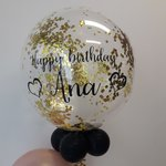 Lovedeco - Bubble ballon met eigen tekst gevuld met Confetti, happy birthday Ana