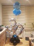 Lovedeco - Luxe cijferballonvoet ballonboeket Blauw 30 jaar