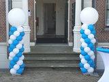 Lovedeco - Standaard ballonpilaar solid blue en white