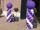 Lovedeco - Standaard ballonpilaar paars en wit