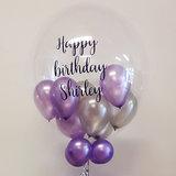 Lovedeco - Bubble ballon met eigen tekst gevuld met ballonnetjes, happy birthday shirley, paars zilver