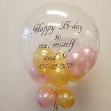 Lovedeco - Bubble ballon met eigen tekst gevuld met ballonnetjes, gefeliciteerd birthday roze en goud
