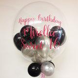 Lovedeco - Bubble ballon met eigen tekst gevuld met ballonnetjes, Happy birthday Mirella sweet 16