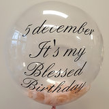 Lovedeco - Bubble ballon met eigen tekst gevuld met veren, It's my blessed birthday roze en rosé goud