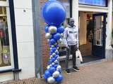 Lovedeco - Elegante ballonpilaar royal blue en chrome zilver