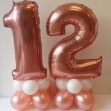 Lovedeco - Mega cijfer ballonpilaar 12 rozé goud en wit