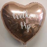 Lovedeco - Persoonlijk bedrukte standaard hartballonWelkom pip
