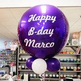Lovedeco - persoonlijk bedrukte orbz ballon paars happy birthday marco