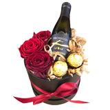Lovedeco - Valentijn rozenbox met ferrero rocher en prosecco small