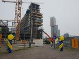 Lovedeco - Standaard ballonpilaar dark blue en yellow