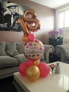 Lovedeco - Elegant cijfer ballonboeket roze en goud 18 jaar