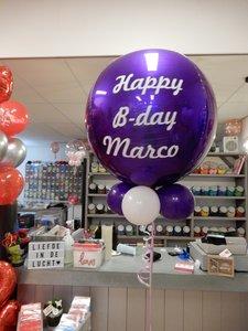 Mooideco - persoonlijk bedrukte orbz ballon paars happy birthday marco