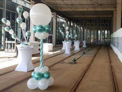 Lovedeco - Luxe ballonpilaar chrome groen en wit
