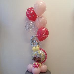 Lovedeco - Cijfer ballonboeket bas 6 jaar roze geel happy birthday