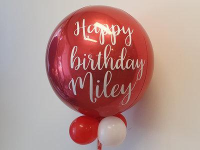 Lovedeco - persoonlijk bedrukte orbz ballon Rood happy birthday Miley