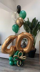 Lovedeco - Cijfer ballonboeket Marnix 40 jaar Forest green, black en goud