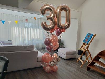 lovedeco- Luxe cijfer ballonboeket rosegold 30 jaar