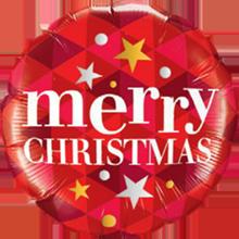 Lovedeco - kerstballon; Merry Christmas Red stars