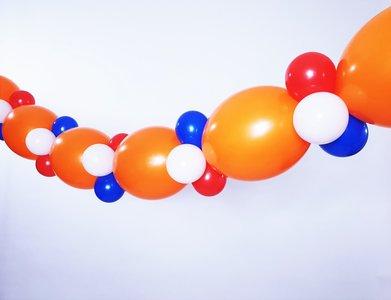 Lovedeco - enkele ballonslinger koningsdag oranje rood wit blauw