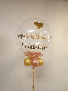 Lovedeco - Gepersonaliseerde bubble ballon met veren, Happy birthday de allerliefste