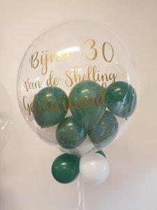 Lovedeco - Gepersonaliseerde bubble ballon met ballonnetjes, Gefeliciteerd bijna 30
