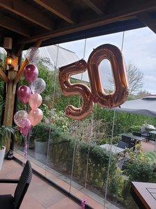 Lovedeco - Mega cijfer ballonnen, 50 rose gold