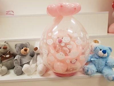 Lovedeco - Baby cadeau ballon met baby girl gevuld met roze beer