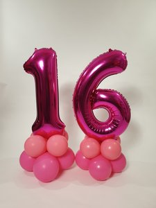 Lovedeco - Mega cijfer ballonpilaar 16 roze