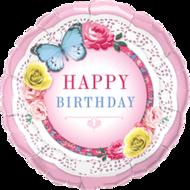 Lovedeco - Happy birthday ballon met vlinder en rozen