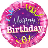 Lovedeco - Happy birthday ballon felroze