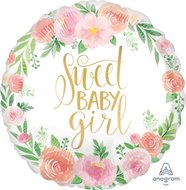 Lovedeco - baby ballon; Sweet baby girl flowers